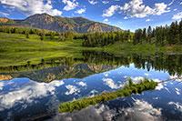 Yellowstone National Park, Lake, Mountain, Reflection