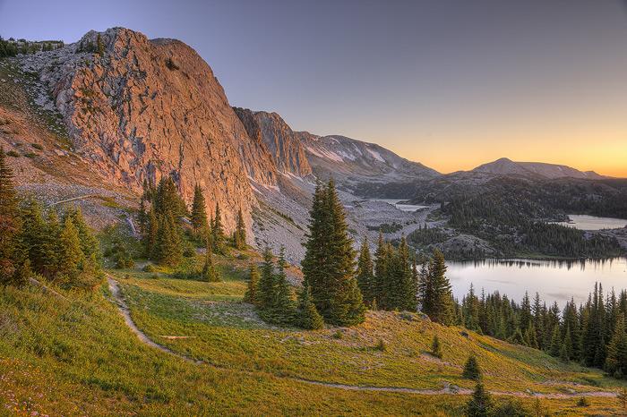 Snowy range medicine bow peak trail lake marie mountain lake photo