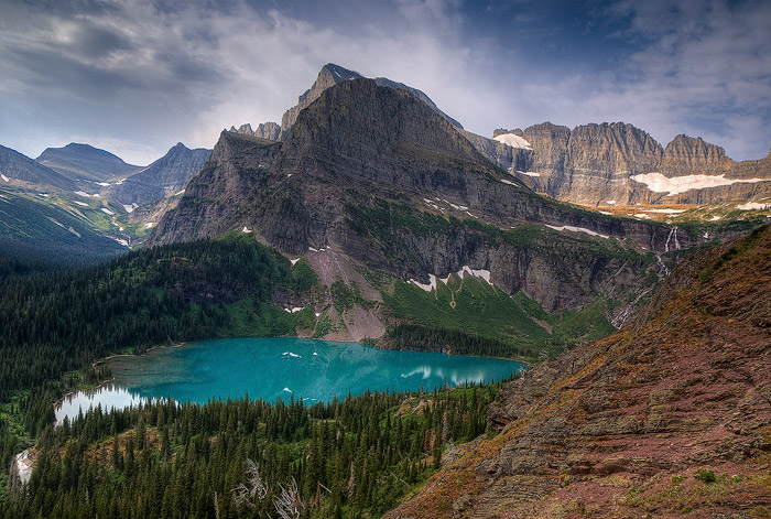 Glacier National Park, Grinnell Lake, Mountain, Lake, photo