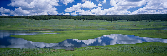 Hayden Valley, Yellowstone National Park, River, Reflection, panorama, photo