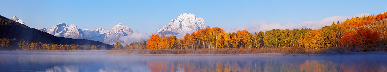 Grand Teton National Park, Oxbow Bend, Mount Moran, Snake River, Panorama