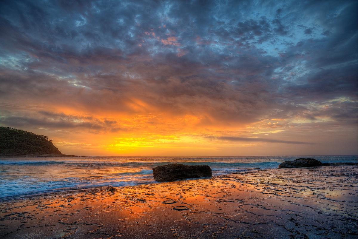 Pretty, Beach, Murramarang, National, Park, ocean, sunrise, Australia, NSW