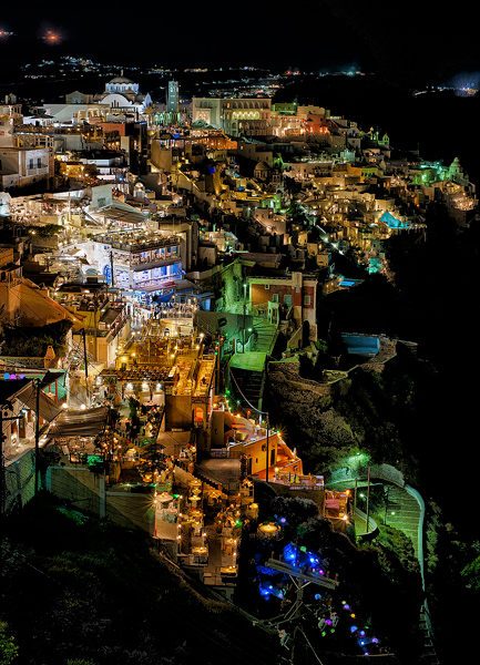 Santorini, Night, Greece, photo