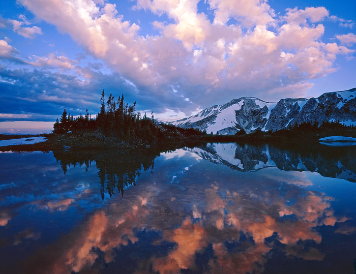 Snowy Range, lake, reflection, sunrise, photo