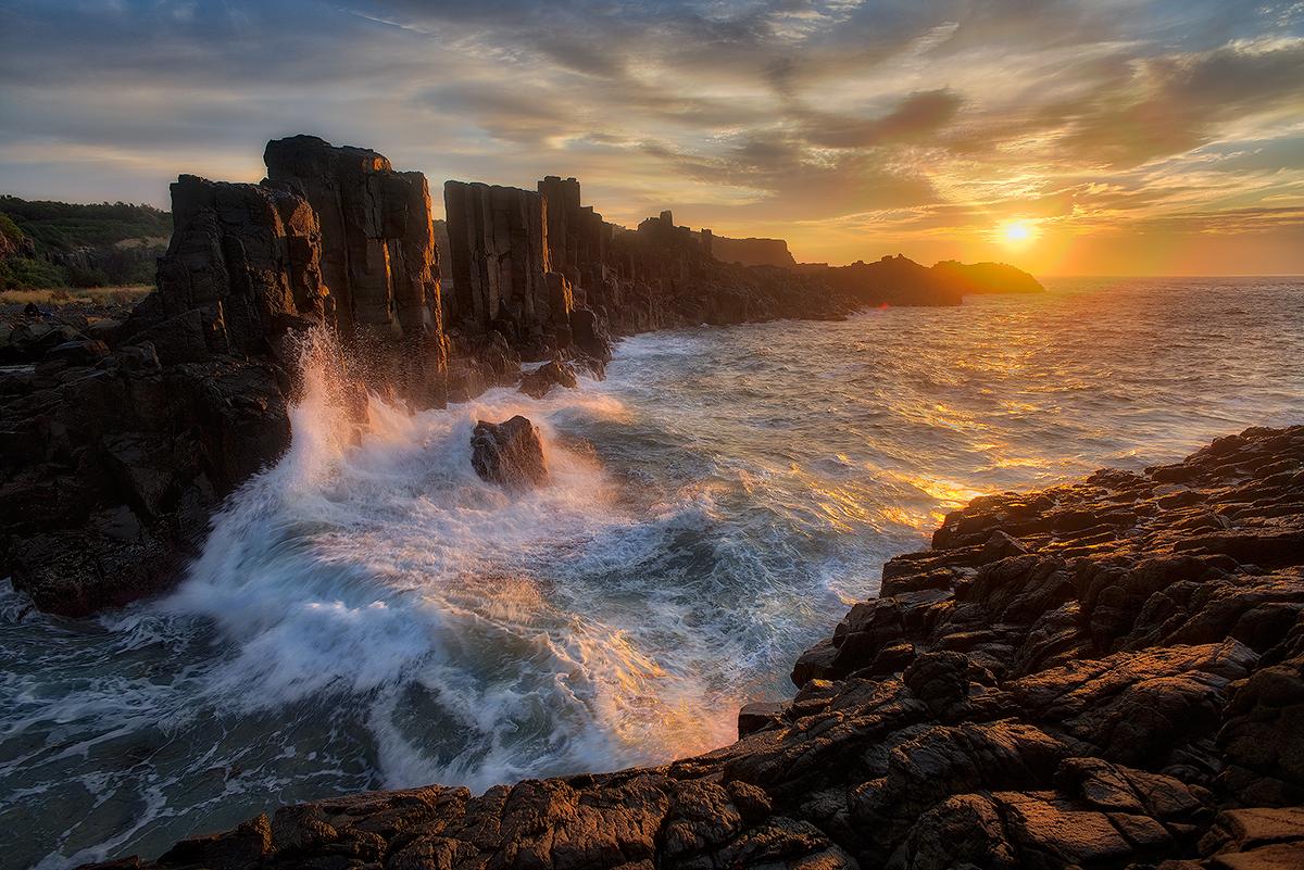 Sunrise, Bombo, Quarry, ocean, wave, Australia, NSW