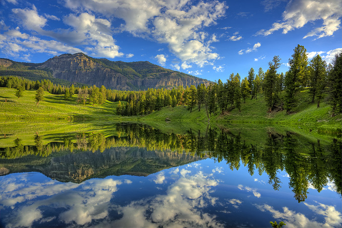 Yellowstone National Park, Mountain, Lake, Reflection
